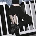 Harajuku Кожаный Ремешок Полые Заклепки Подвязки Висит Женские Леггинсы Клуб Стиль Выдалбливают Брюки Уличный Танец