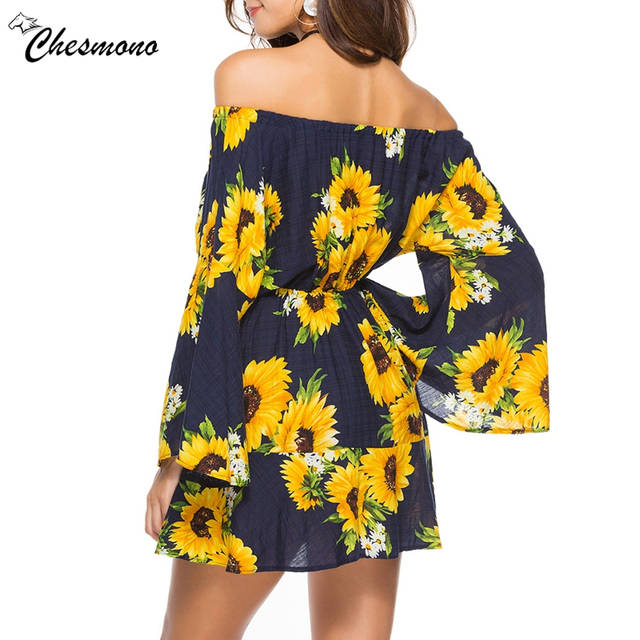 82b702befdd5 Boho floral Print Elegant Women Summer Dresses 2018 vocation Fashion Off  Shoulder long sleeve chiffon Sundress