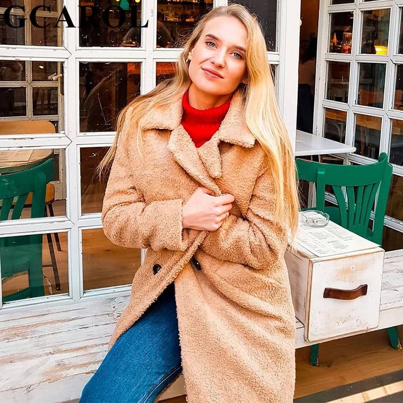 Boutonnage Faux Cranté Double red Imitation D'agneau Khaki Vêtements Hiver Automne De Fourrure Gcarol Femmes Col Polaire Manteau Veste Épais lFKTJ1c
