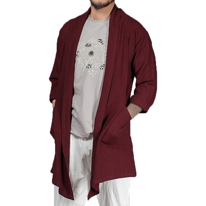 INCERUN Autumn Mens Long Cloak Cape   Trench   Long Sleeve Solid Cotton Irregular Casual Vintage Outwear Cardigan Jacket M-5XL 2019