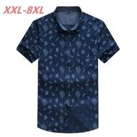 Big Size Summer 6XL 100 Cotton Print Code Shirt XL Fat People Wear 8XL 7XL Work