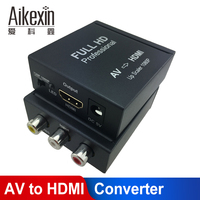 Aikexin RCA AV to HDMI Converter Composite CVBS to HDMI Adapter HDMI Converter AV2HDMI Support 720P/1080P In Metal for PC TV