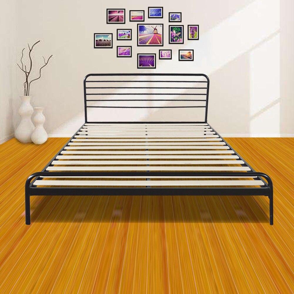 Round Wood Slats Metal Bed Frame Platform Bedroom Mattress