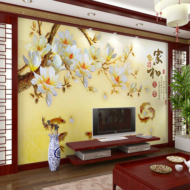 Buy modern flower wall murals chinese for Chinese mural wallpaper