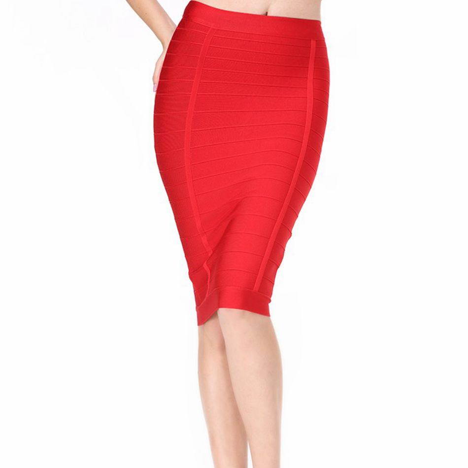 2018 New Fashion Spring Bandage Skirt Women Celebrity Party Red Bodycon Knee-Length Pencil Skirt Women Sexy Women Club Skirt