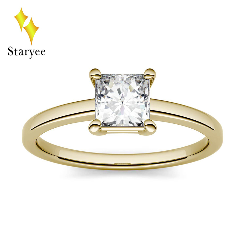 14K Yellow Gold Moissanite Ring 1.0ct 5.5mm DEF Engagement Ring Test Positive Lab Diamond Wedding Band Jewelry For Women Bride александр кабаков камера хранения мещанская книга