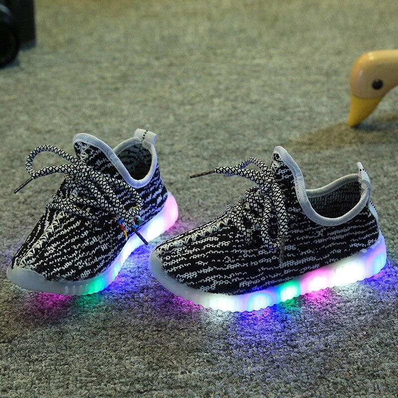 Детские кроссовки Air Mesh Спортивные Светодиодный свет плоские туфли работает ультра мягкая подошва ребенок Enfant для мальчиков и девочек свет... ...