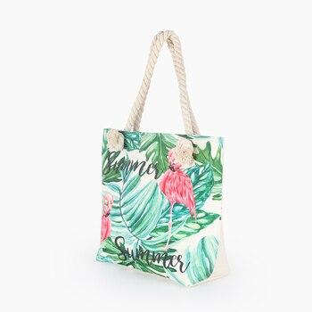 Hot Sale Flamingo Printed Casual Bag Women Canvas Beach Bags High Quality Female Single Shoulder Handbags Ladies Tote BB196 5