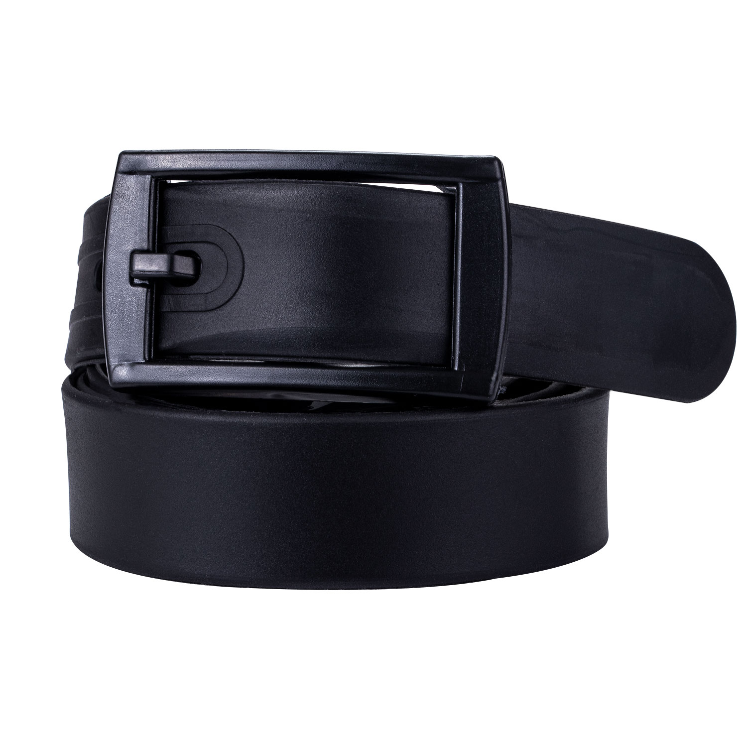 Silicone Rubber Leather Belt Smooth Buckle black