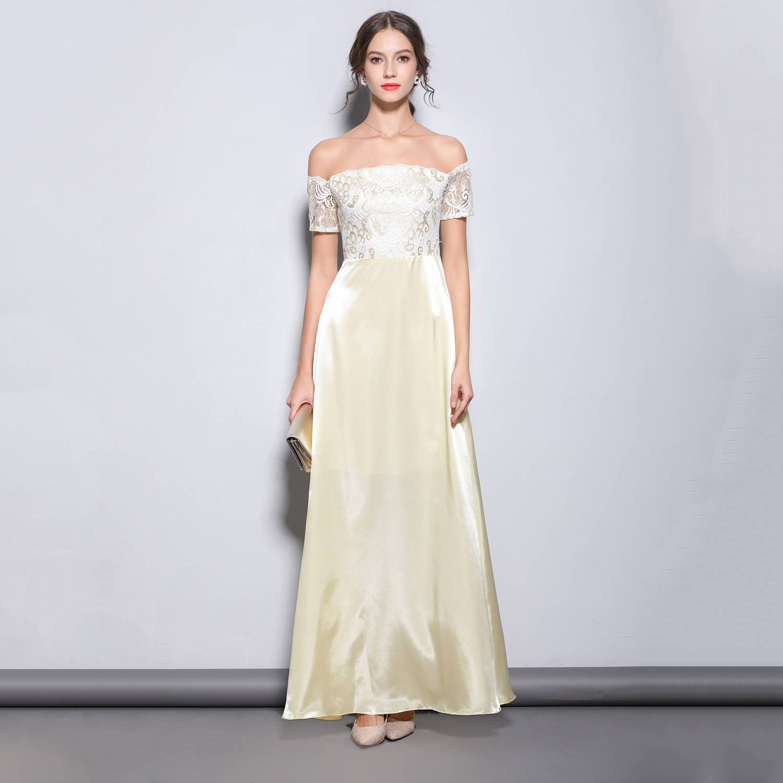 Beige Off The Shoulder Formal Party   Dress   Robe Soiree Sexy Elegant LACE A Line   Evening     Dresses   Prom Gown Vestidos De Festa