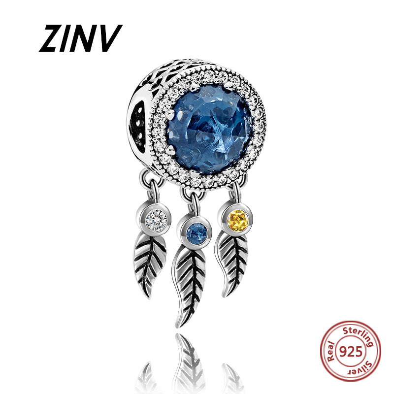 059a09632 925 sterling silver Dream catcher Blue Stone beads fit authentic charms  pandora bracelet diy fine jewelry Making for women gifts
