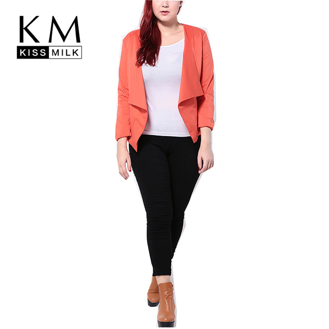 Kissmilk Plus Size Women New Fashion Solid Red Turn-down Collar Coat Big Large Size Open Stitch Casual Slim Coat 3XL-6XL