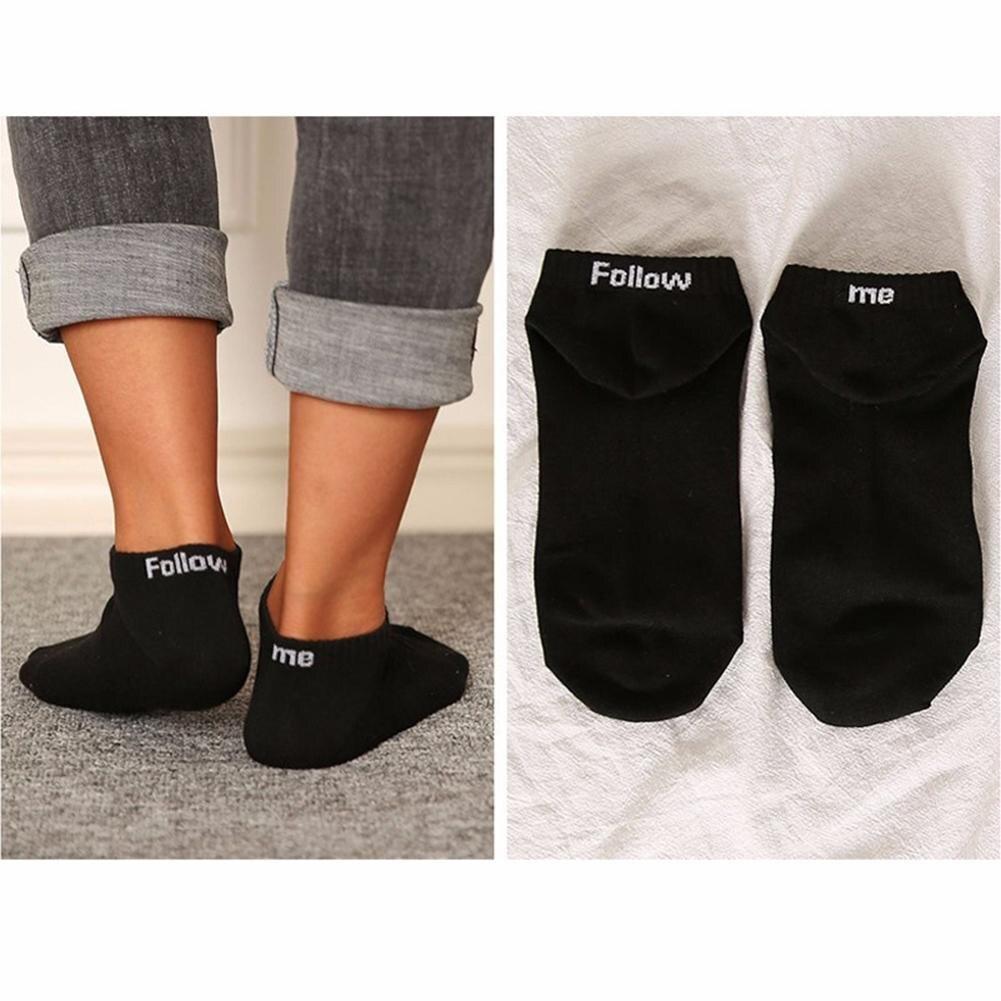Follow Me Letter Print Unisex Cotton Socks Spring Autumn Winter 4 Seasons Casual New Quality Weave L Size Sweat Deodorant Sock