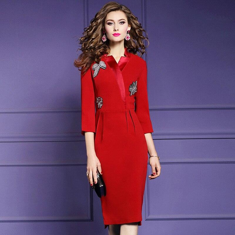 Pencil Diamonds Office Lady dress 3xl 2019 new Superior quality Women Party Dress Plus Size winter