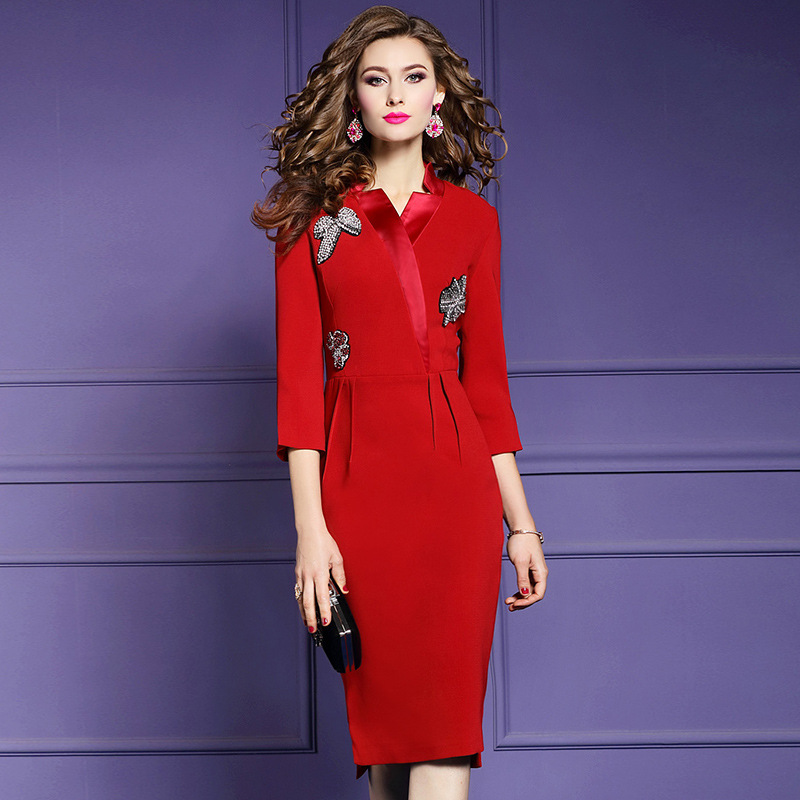 Pencil Diamonds Office Lady dress 3xl 2019 new Superior quality Women Party Dress Plus Size winter Three Quarter Vintage dresses-in Dresses from Women's Clothing    1