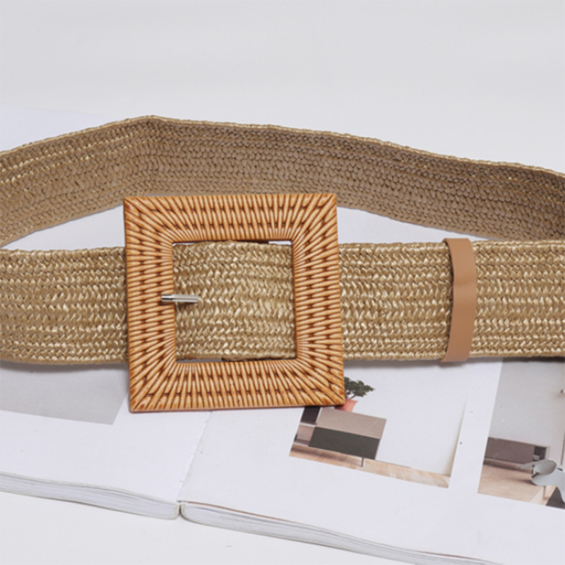 2019 New Vintage Knitted Wax Rope Wooden Bead Waist Rope Women Smooth Square Buckle Belt Women Woven Female Braided Belt