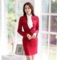 Primavera Outono Vermelho Formal Blazer Mulheres Ternos de Negócio com Saia e Casaco Define Ladies Escritório Uniforme Estilo OL