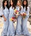 Hot Sale Vestidos de madrinha 2016 Custom Elegant Two Piece Lace Mermaid Bridesmaid dresses sleeveless Bridesmaid dresse
