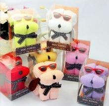 20pcs Mixed color Cute Glasses Dog Style Towel Fibre Creative Towels For Wedding Party Birthday Favor Gift Souvenirs Souvenir