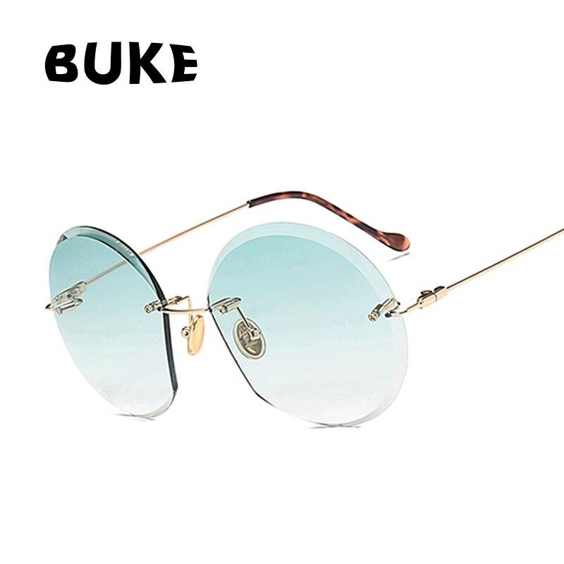 BUKE Nuovi Arrivi Donne Senza Montatura Occhiali Da Sole del Progettista di Marca Classic Gradiente Occhiali Da Sole Per Le Donne Dell'annata Rotonda occhiali oculos