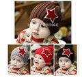 Inverno criança crochet caps com bordado estrela pentagrama, Algodão do bebê chapéus de tricô para crianças
