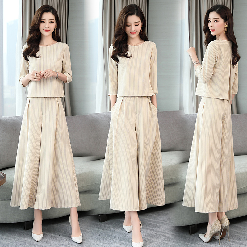 Two Piece Set 2019 Women Tops And Wide Leg Pants Trousers Set Suits Spring Autumn Casual