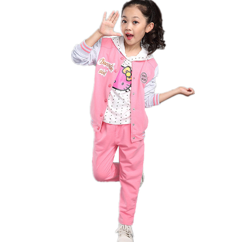 Spring Autumn Girl Coat + Hoodies + Pants Set Toddler Kids Clothes Baby Suit Next Children Clothing Conjunto Infantil Girls Sets teenage girls clothes sets camouflage kids suit fashion costume boys clothing set tracksuits for girl 6 12 years coat pants