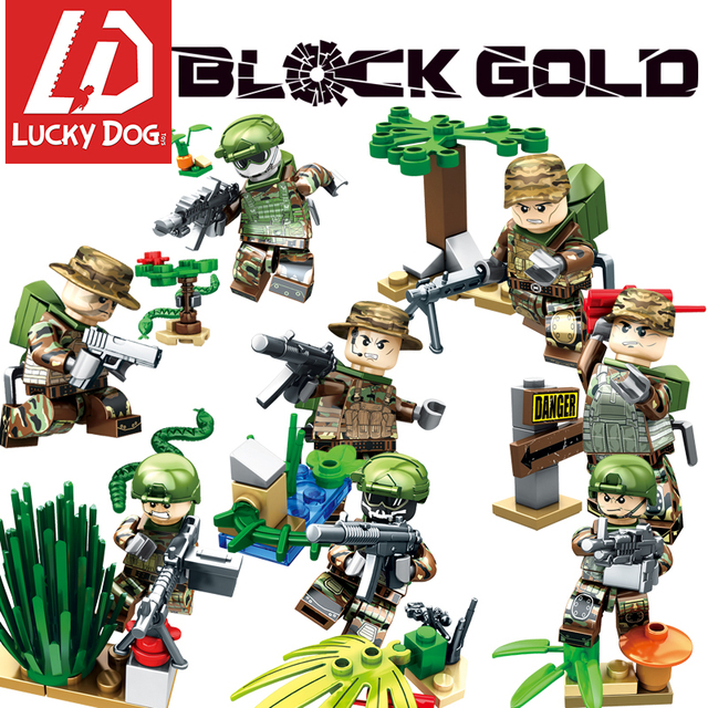 Military Army Soldiers Building Blocks With Gun diy Mini War Brick Figures Compatible legoed weapon Toys block gold