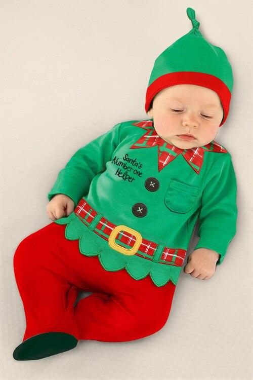 Mamelucos Del Bebé Trajes de Santa de navidad Bebé Cloing establece Overoles Con headwear Chespest