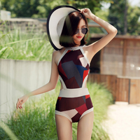 BEIDISI New One Piece Swimsuit Swimwear Women 2017 Summer patchwork Bathing Suit Backless high neck Halter Monokini 16231