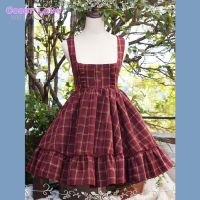 Classic Lolita JSK Jumper Skirt Tweed Sleeveless Ruffles Pleated Plaid Dark Red Lolita Dress !