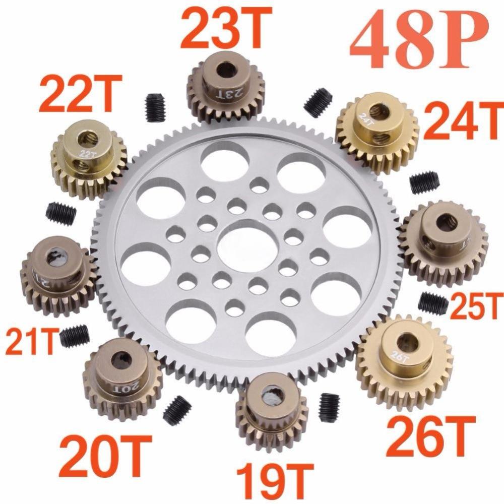 Шестерня двигателя для Sakura R31 G31 SCX10 AX10 Traxxas HPI, металлическая Шестерня 48P 92T 85T 80T 19T 20T 21T 22T 23T 24T 25T 26T|Детали и аксессуары|   | АлиЭкспресс