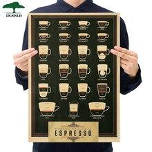 Café bière arme vin Collection affiche café Bars cuisine décor affiches parure Vintage affiche rétro 51*35cm Stickers muraux