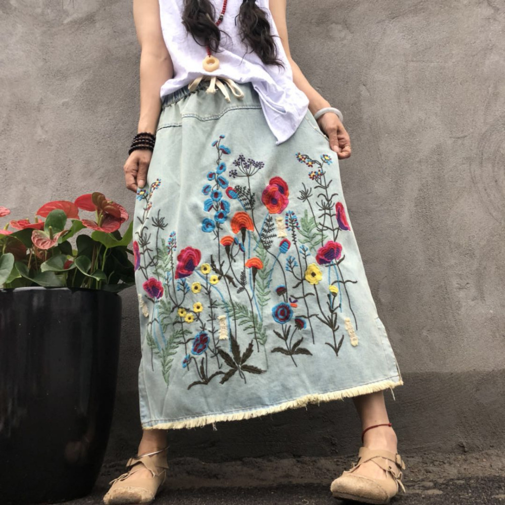 Free Shipping 2019 New Tassels Cotton Denim Long Mid-calf Skirts For Women Summer Elastic Waist A-line Embroidery Holes Skirts