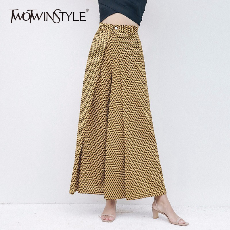 TWOTWINSTYLE Print   Wide     Leg     Pant   For Women High Waist Patchwork Vintage Beach Long Trouser Large Size Female Spring Fashion New