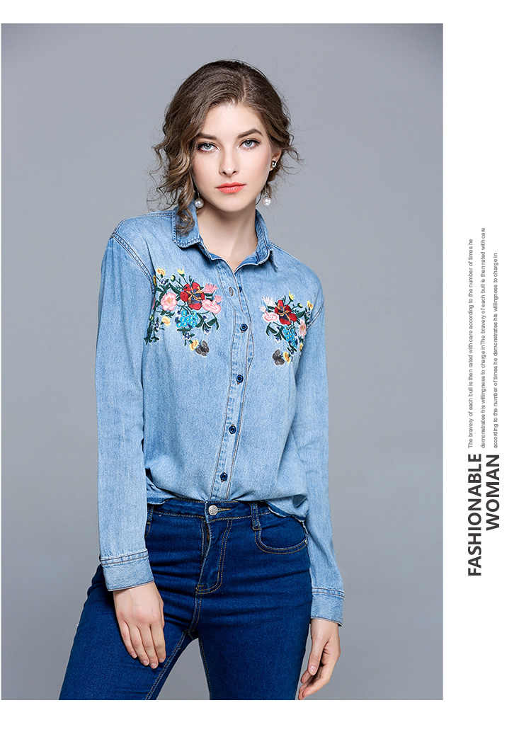 b20e31c0 ... Spring Flower Embroidery Jeans Shirt Blusas Mujer De Moda 2019 Long-sleeved  Denim Shirt Women ...