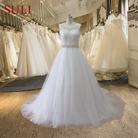 SA03 2015 Custom Made Crystals Bridal Gowns Sheer Back Tulle Lace Cheap Sexy Wedding Dresses Long