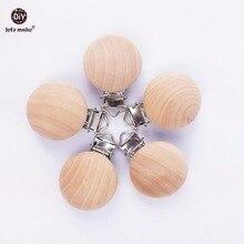 Lassen sie Machen Natürliche Holz 20pc Schnuller Ahorn Metall Clips Halter Runde Holz Zahnen Perlen Beißring Baby Für Dummy kette