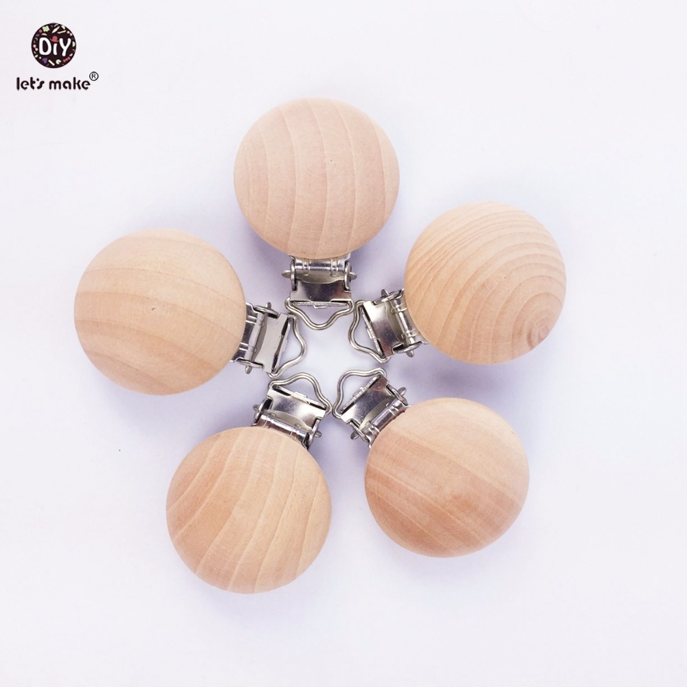 Let's Make Natural Wooden 20pc Pacifier Maple Metal Clips Holder Round Wooden Teething Beads Teether Baby For Dummy Chain