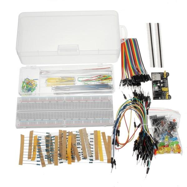 New Arrival Power Supply Module 830 Hole Breadboard Resistor Capacitor LED Kit For Arduino Beginner