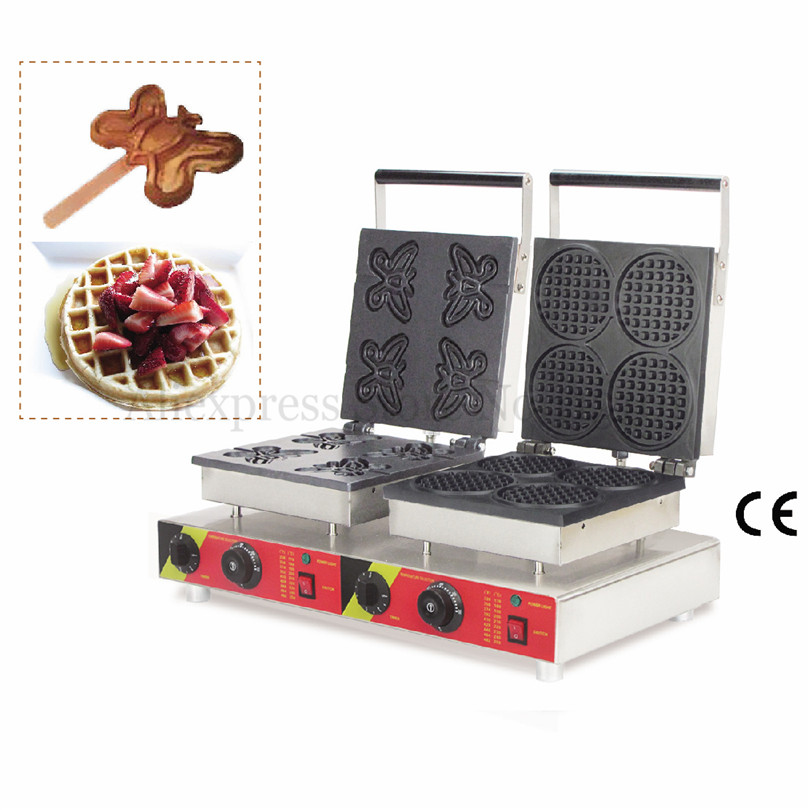 Double Heads Waffle Machine Various Styles for Choice Electric Nonstick Waffle Baker Cake Maker Commercial Use commercial automatic waffle cake maker baker machine
