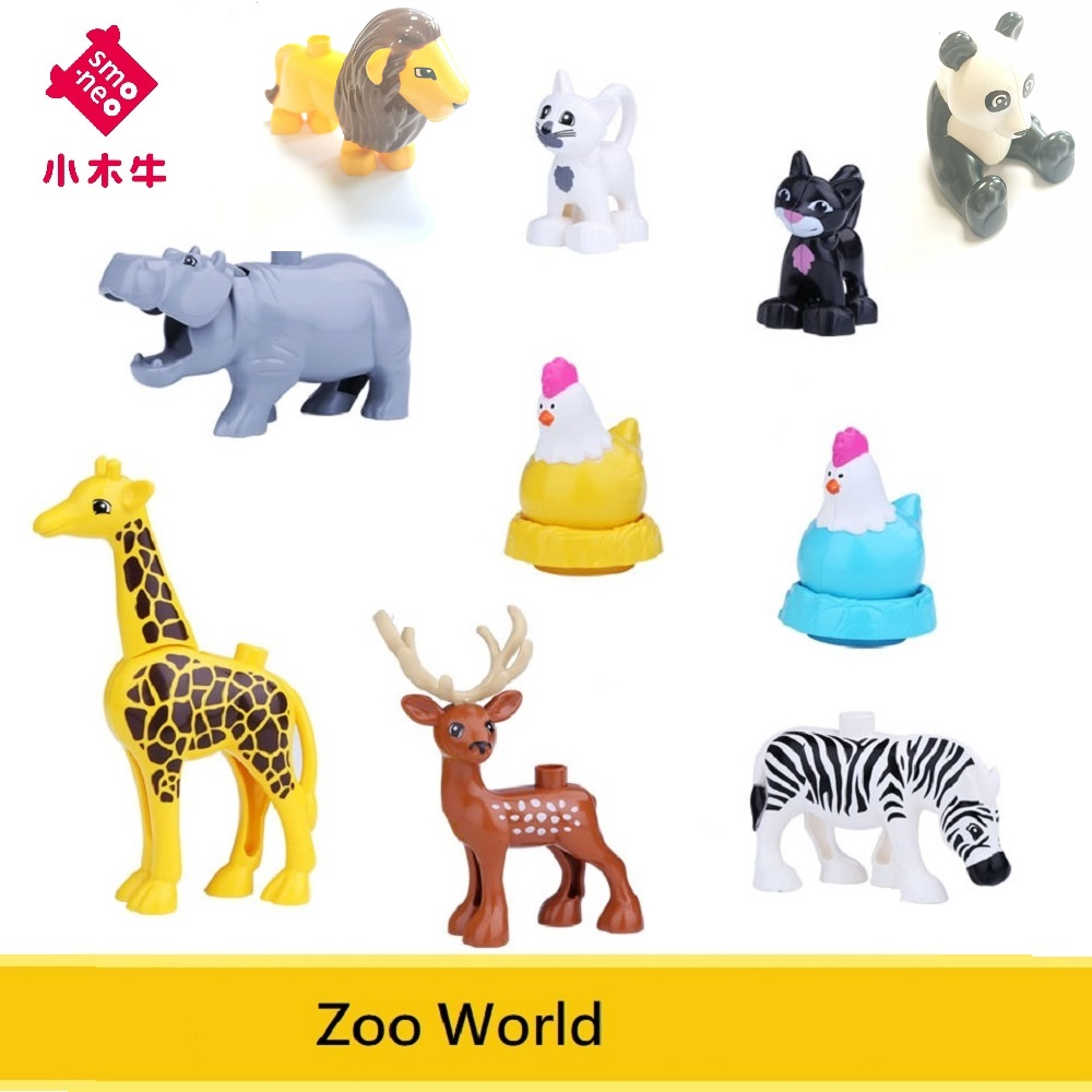 SMONEO Single Sale for lego Duplo ZOO World Hippo Stag Large size Tyrannosaurus Blocks Baby kids Toys Animal Brick Compatible