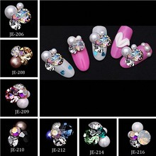 100pcs Flower Shape Nail Art Rhinestones Crystal Stones 16 Colors 8x12mm Shiny DIY Charms Jewelry Nail Art Decoration JE206-221# 10 pieces chic rhinestones butterfly shape diy nail art decoration