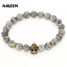 2017 natural 8mm stone mens bracelet gold silver color spartan helmet bracelet meninos pulseira men jewelry bijoux homme(China)