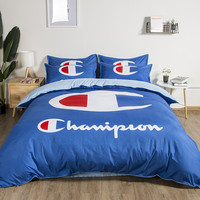 LLANCL Chimpion Big CPrinted Quilt/Duvet/Comforter cover With Pillowcase Bedroom 3pcs Polyester Christmas Gift Blue color