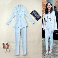 Sky Blue blazer women suit jackets two piece skirt suit two piece