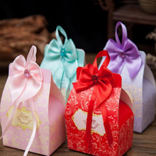 100Pcs/Lot Bowknot ribbon Candy Boxes Bonbonniere Sweet Paper Box Wedding Favor Gift Birthday Party Supplies