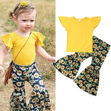 Summer Fashion Toddler Baby Girl Clothes Solid Yellow Shirt + Chrysanthemum-Printed Flare Pants 2Pcs Kids Girls Outfit 1-6T 2018 brand new toddler infant child kids baby girl outfit clothes jeans denim shirt bow tutu tulle skirt 2pcs sets clothes 1 6t