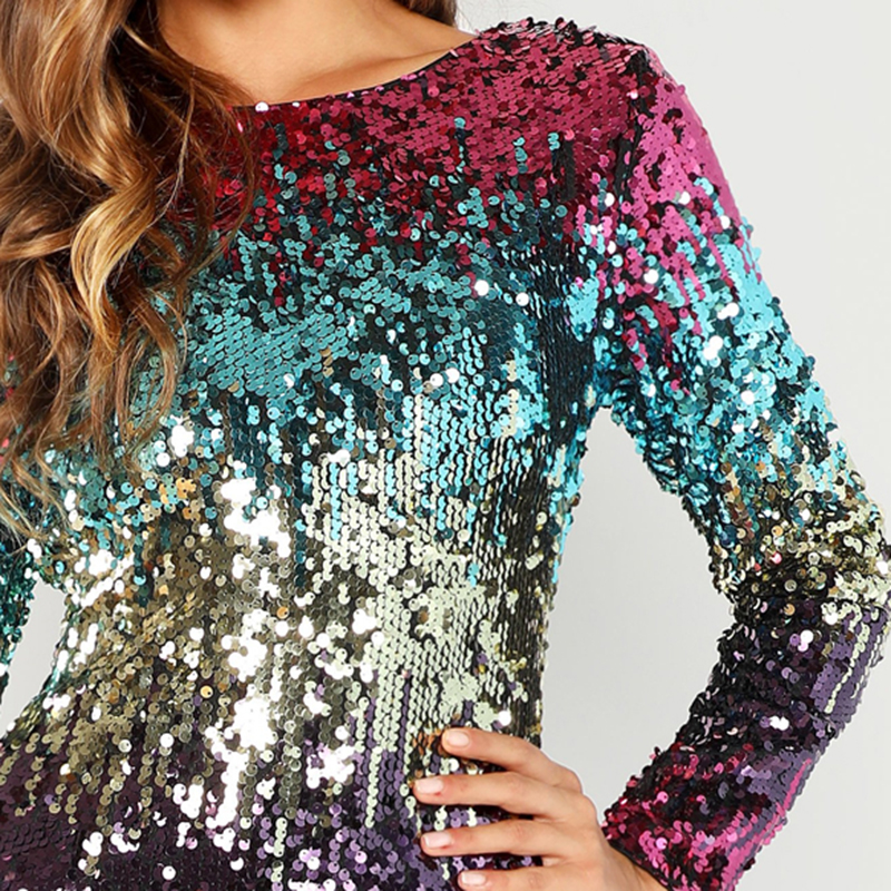 COLROVIE Embroidery Zipper Sequin Sexy Dress Women 2018 Autumn Long Sleeve Evening Party Dress Streetwear Elegant Mini Dresses 8