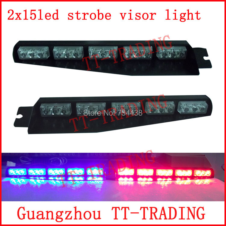 2x15led Police strobe lights car visor light vehicle dash board led emergency lights car warning lamp DC12V RED BLUE WHITE AMBER